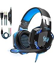 Cuffie da Gioco per PS4, Cuffie de Gaming con Microfono, Headset Auricolare Gioco con 3.5mm Jack LED Bass Stereo Noise Cancelling per PS4/Xbox One X /S/Nintendo Switch/PC/Laptop/Tablet