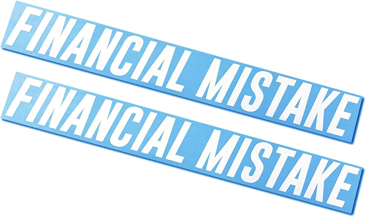 Financial Mistake Decals//Stickers 1.5x12 2 Pack
