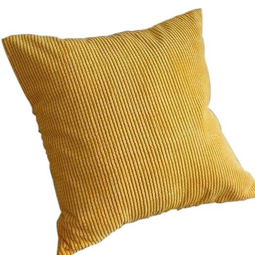drawihi funda de almohada Funda de cojín pana fundas cuadrado amarillo para sofá casa oficina coche