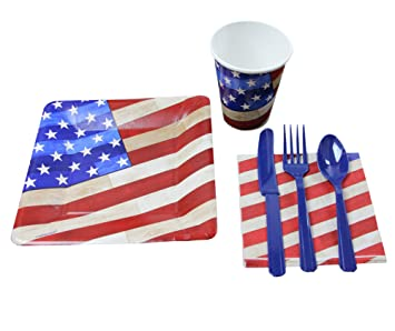 4th of July Party Pack - Seats 18 American Flag Cups Napkins Plates  sc 1 st  Amazon.com & Amazon.com: 4th of July Party Pack - Seats 18 American Flag Cups ...