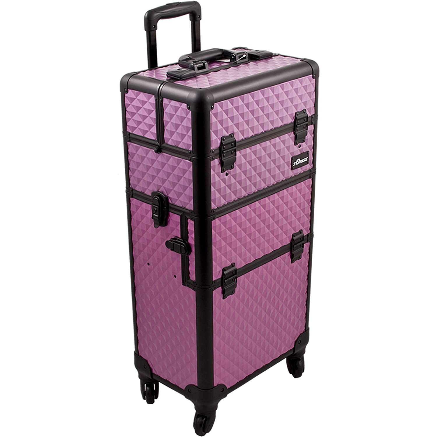 SUNRISE Makeup Case on Wheels I3261 2 in 1 Hair Stylist Organizer, 4 Wheel Spinner, 3 Trays and 1 Removable Tray, Locking with Mirror and Shoulder Strap, Purple Diamond