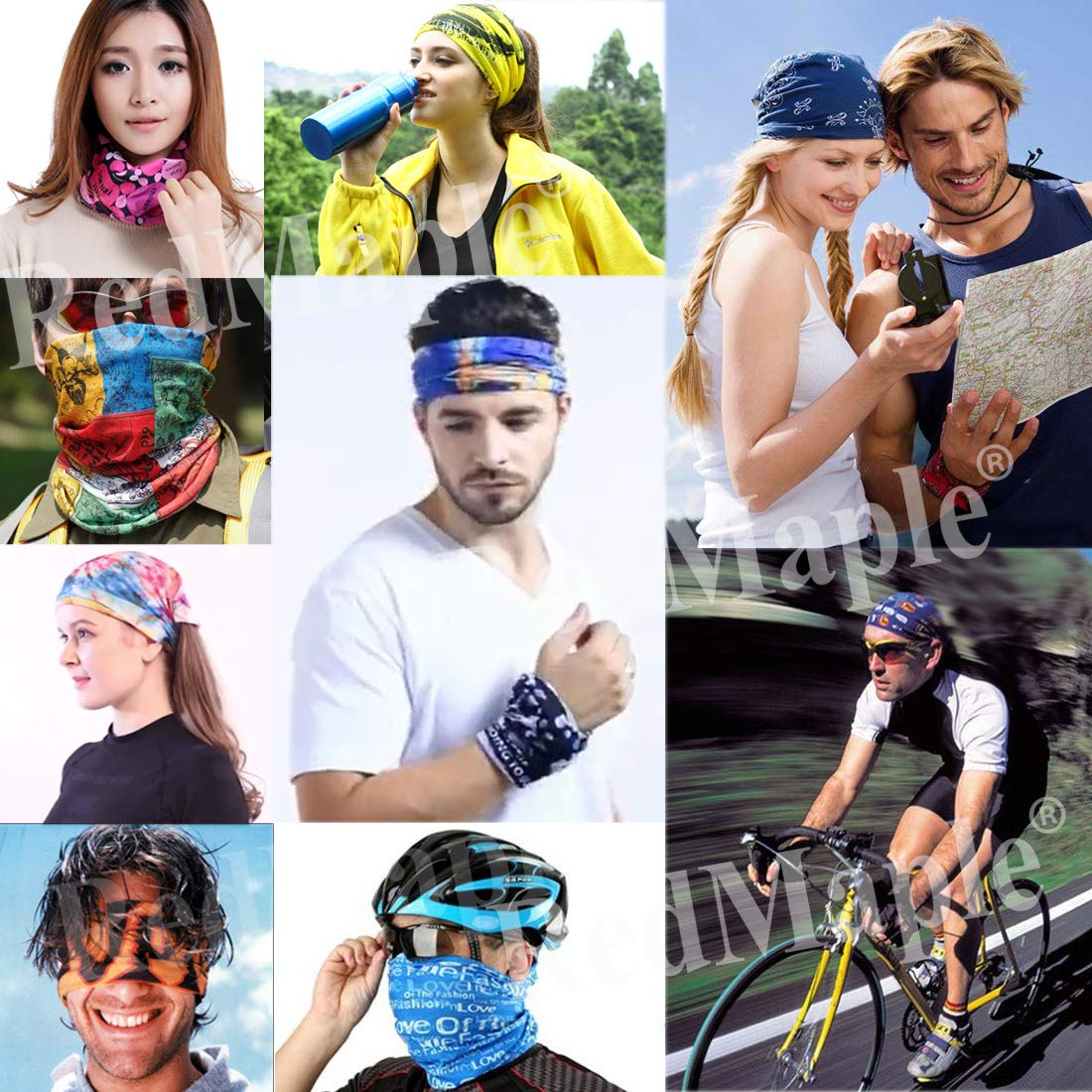 6 PCS Elastique Tube Bandeaux Echarpe Gaiter Balaclava Masque UV R/ésidence pour Yoga Course /à Pied Randonn/ée Cyclisme Bandana Multifonctions Couvre-Chef sans Soudure