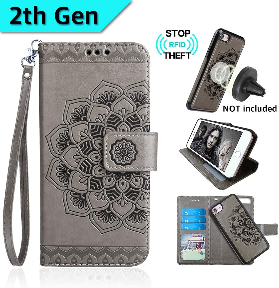 CASEOWL iPhone 8&iPhone 7 Case,Mandala Flower Embossed Upgrade Version Lanyard Wallet Case for iPhone 7/8 with Magnetic Detachable TPU Case,RFID Protection,Fit Car Mount, H/V Stands,Card Slots[Gray]