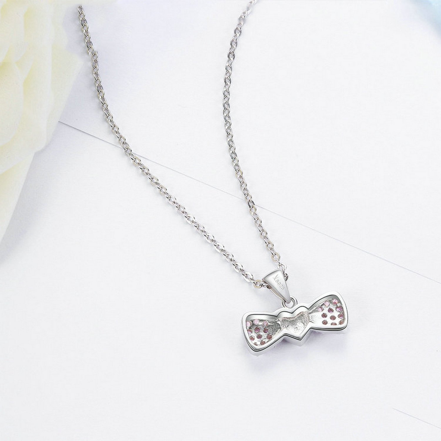 CS-DB Pendants Heart Bowknot Pink Crystal Silver Necklaces