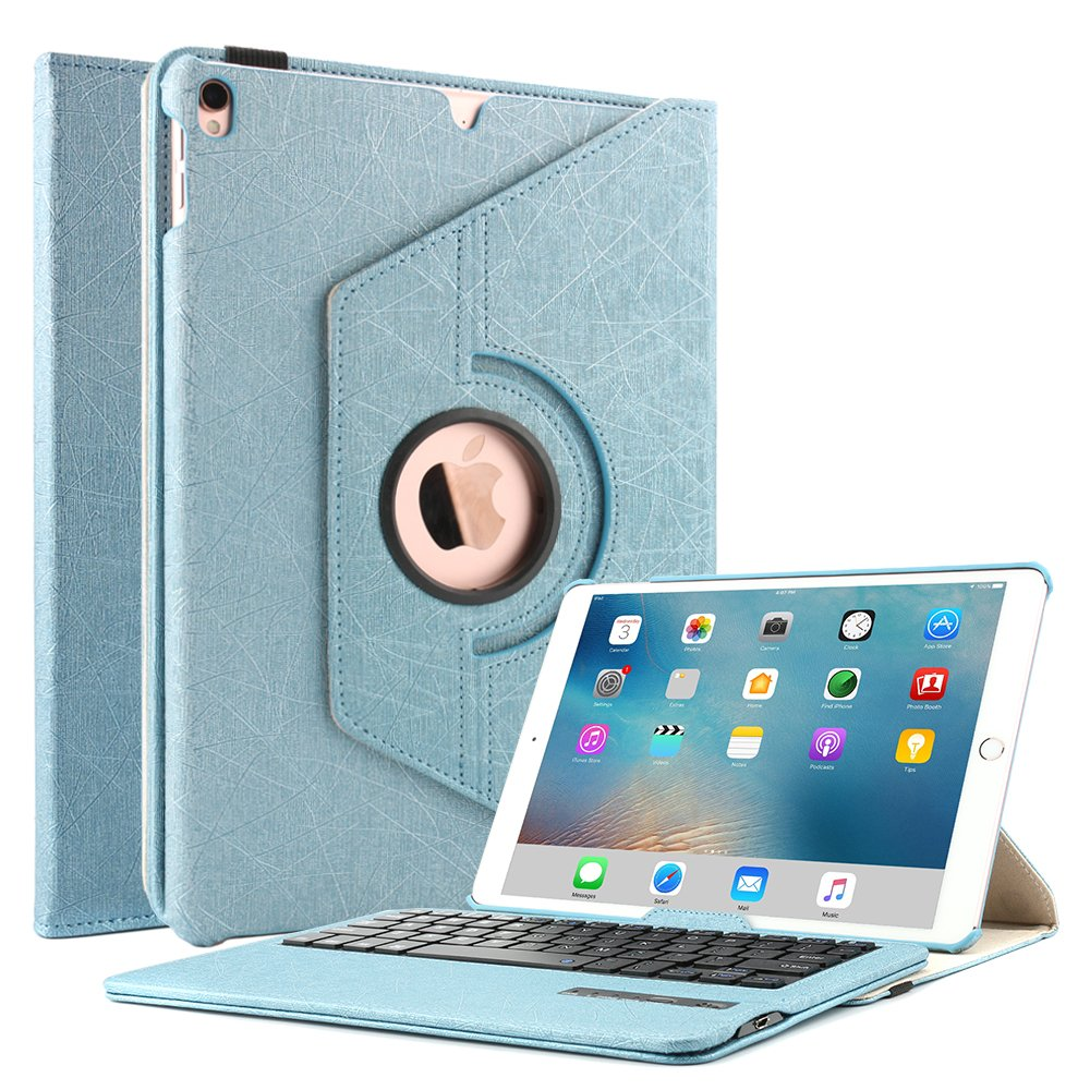 Boriyuan iPad Case with Keyboard for Pro 10.5, 360 Degree Rotating Stand PU Leather Smart Cover with Detachable Wireless Keyboard for Apple New iPad Pro 10.5 inch(A1701/A1709) (Blue)