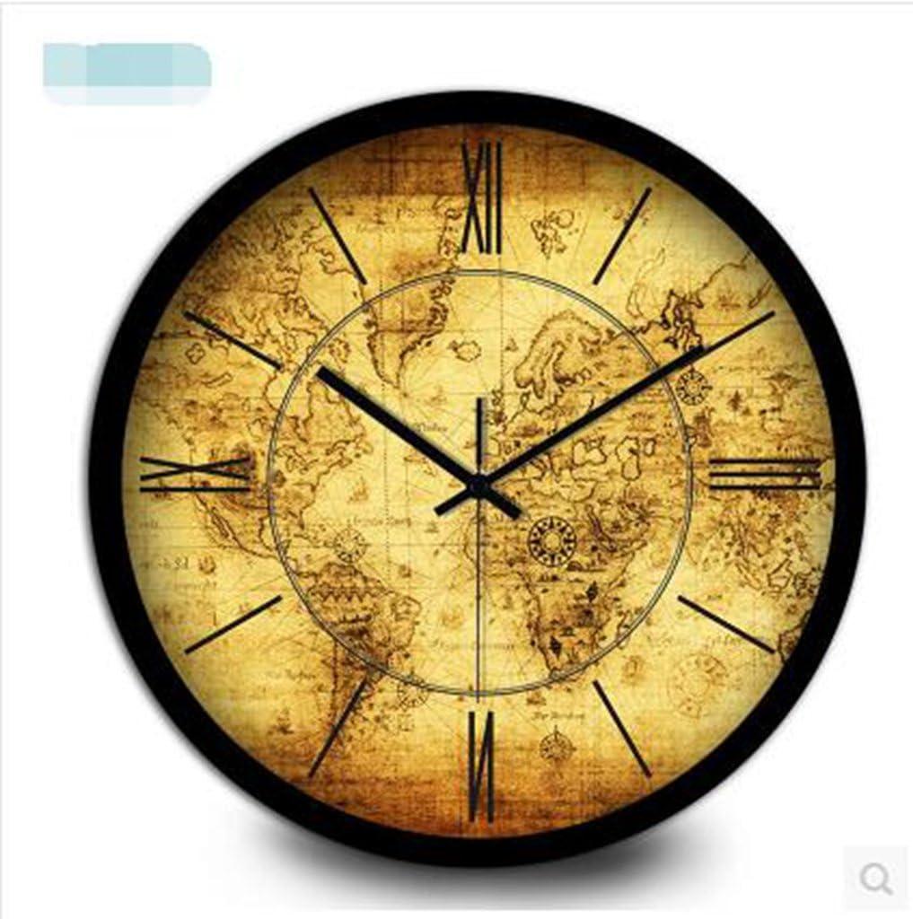 MNMKJH,antiguo reloj de pared de mapas náuticos Continental, decorativo reloj de bolsillo de los números romanos, cuarzo electrónico de la pared del dormitorio viven reloj de pared