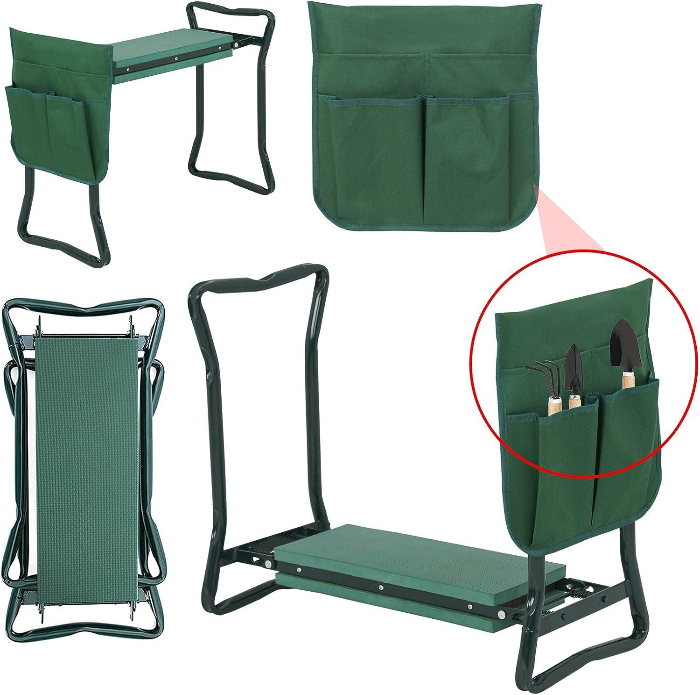 Lemy Banc de jardin portable multi-usage Tabouret de jardin pliable avec sac à outils