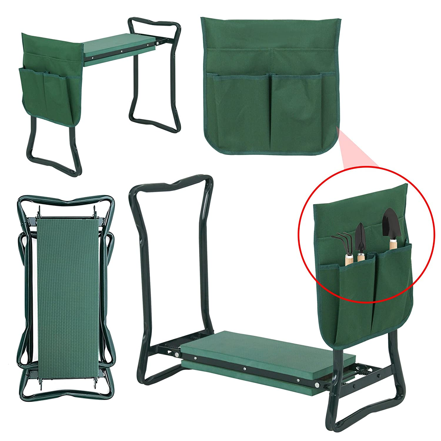 Heavy Duty Yard Gardening Chair with Soft Kneeling Pad,Green Smartxchoices Folding Garden Kneeler Seat Garden Bench Stool with Handles Multi-use Pouch