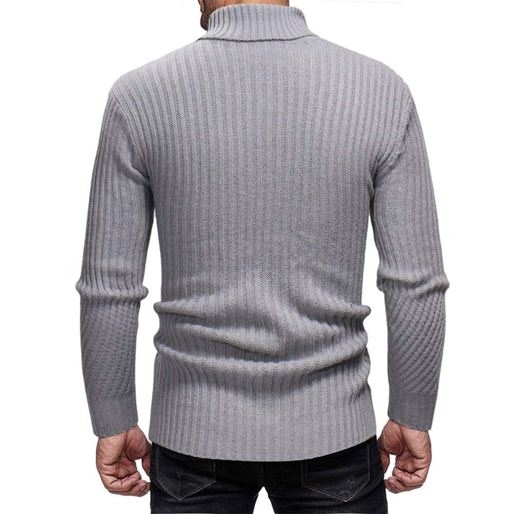 CMrtew ❤️ Men Long Sleeve High Collar Sweater,Casual Solid Color Elastic Top Knitted Blouse