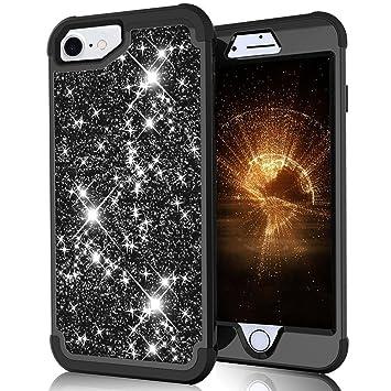 LCHULLE para iPhone 6 6S 7 8 Carcasa Brillante Funda Antigolpes 360 Protección Completa Resistente y Tecnología de Cojín de Aire Estuche Ultra Ligera ...