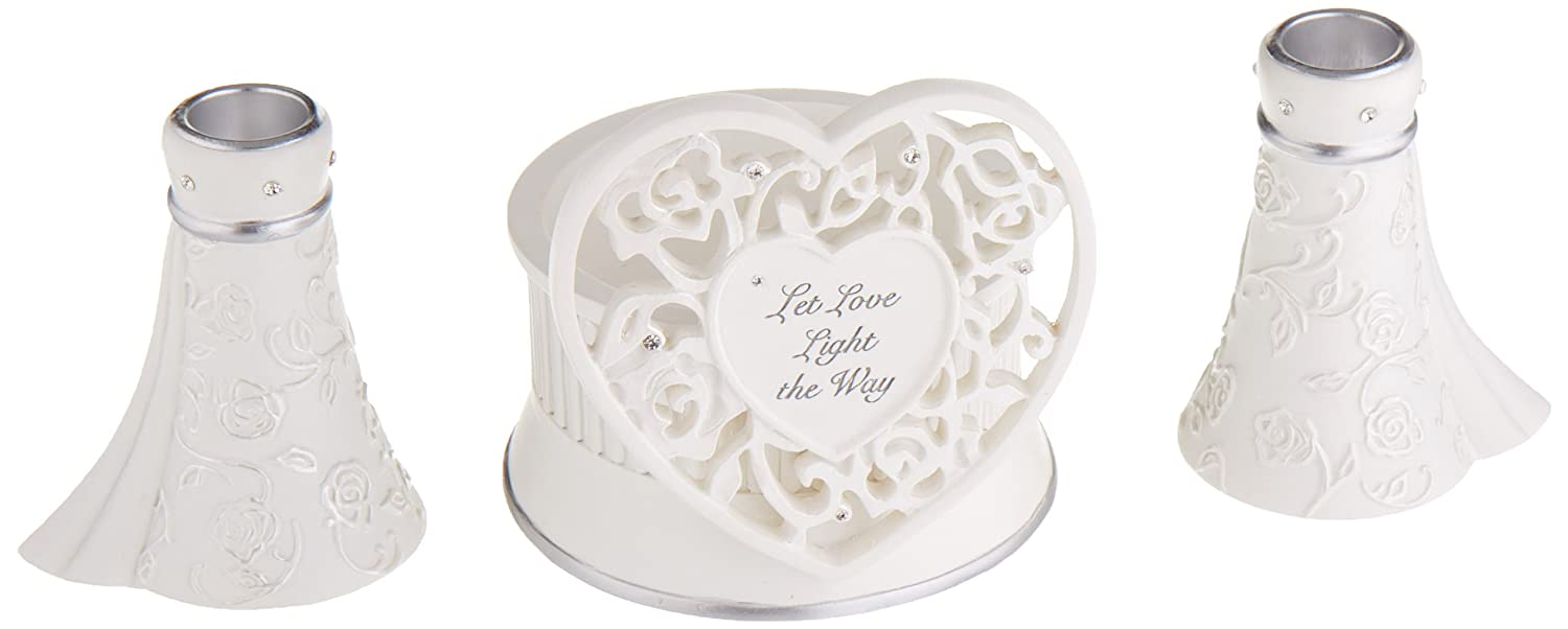 Language of Love 3-Piece Unity Candle Set, 4.5-Inch Roman Inc. 75980