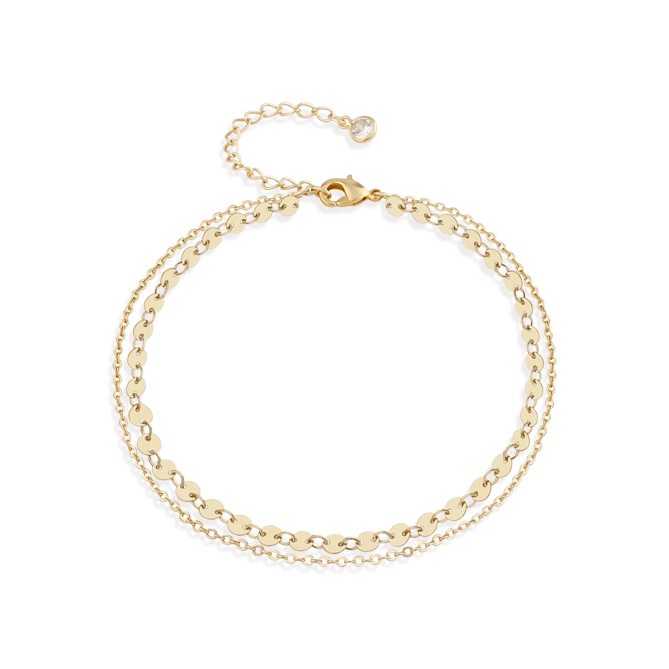 Dainty Gold Coin Chain Anklet,Double Layer 14K Gold Plated Disc Chain Ankle Bracelets for Women