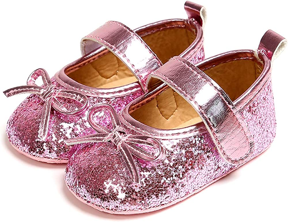 Antheron Baby Girls Mary Jane Flats Soft Sole Infant Moccasins Floral Sparkly Toddler Princess Dress Shoes Size 6-12 Months Infant