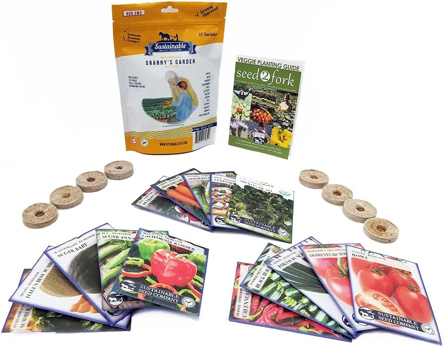 Grannys Garden Heirloom Vegetable Seed Collection - 15 Varieties Non-GMO Heirloom Beet Carrot Cucumber Basil Kale Lettuce Melon Onion Pea Pepper Squash and Tomato Seeds (w/Pellets)