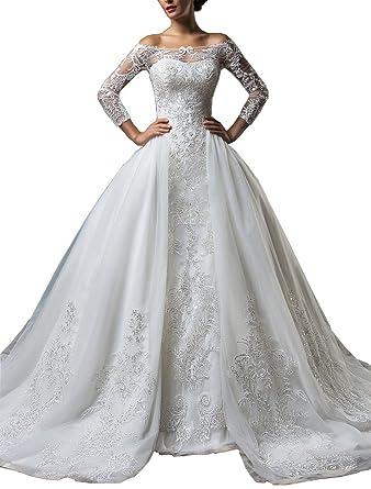 tsbridal detachable skirt wedding dress long sleeves lace wedding dressesxc107 ivory2