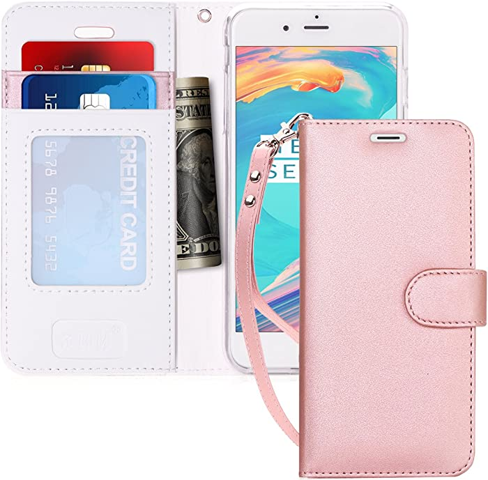 """FYY Case for iPhone 7 / iPhone 8, [Kickstand Feature] Luxury PU Leather Wallet Case Flip Folio Cover with [Card Slots] and [Note Pockets] for Apple iPhone 7 2016 /iPhone 8 2017 (4.7"""") Rose Gold"""