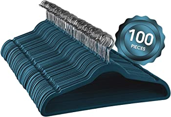 100 Piece Elama Home Velvet Slim Profile Heavy Duty Felt Hangers