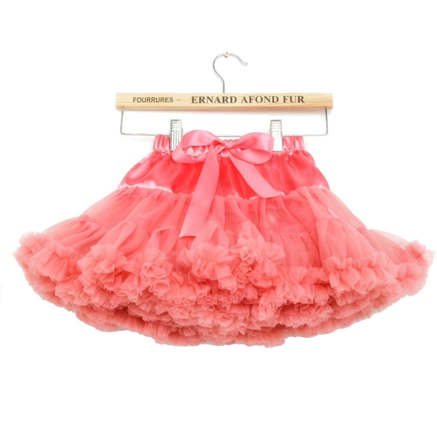 storeofbaby Girls Solid Color Fluffy Tutu Skirt Ruffle Tiered Pettiskirt,5-7Years/M,Coralred by storeofbaby