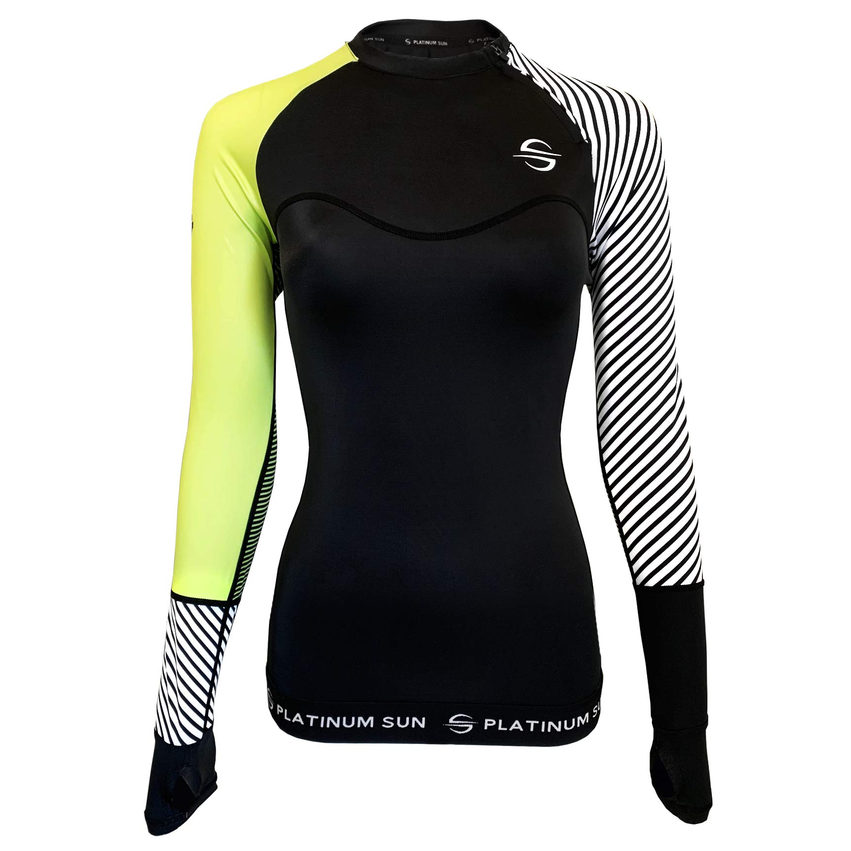 Women's Rash Guard Swim Shirt Long Sleeve Swimsuit Top Bathing Swimming Shirts - Sun Protection Clothing UPF 50+ (Green-Stripes, M) by Platinum Sun
