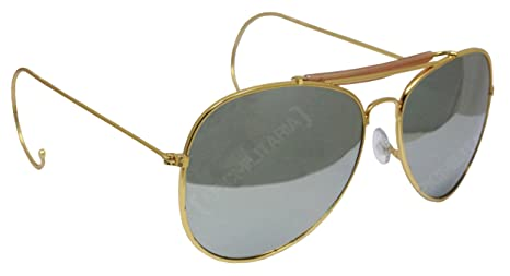 5e3dd5c30 US Pilot Style Aviator Sunglasses with Mirrored, Brown or Green Lenses (Mirrored)