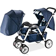 OLizee Baby Kids Toddler Twins Double Seats Tricycle Stroller Ride-On Trike(Blue)