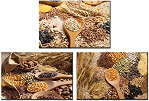LevvArts 3 Piece Kitchen Canvas Wall Art Autumn Grain Wheat Rice Seed on Spoon Pictures Painting Vintage Food Art Prints with inner Wood Frame for Farmhouse Dining Room Kitchen Wall Decor