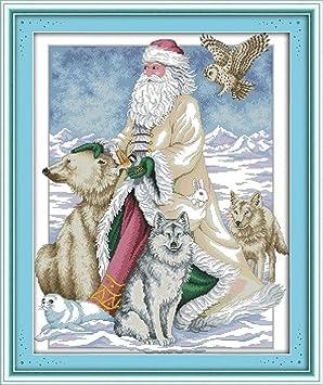 El Polo Norte Santa Claus lobo oso y conejo. DIY 11 CT de punto de ...