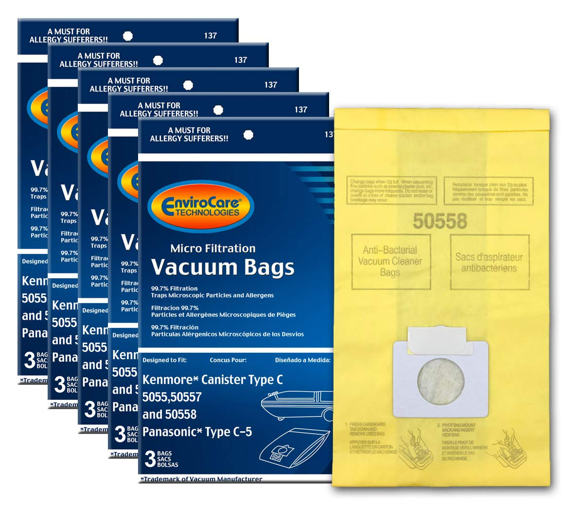 EnviroCare Replacement Micro Filtration Vacuum Bags to fit Kenmore Canister Q. 5055, 50557 and 50558 Panasonic Type C-5…