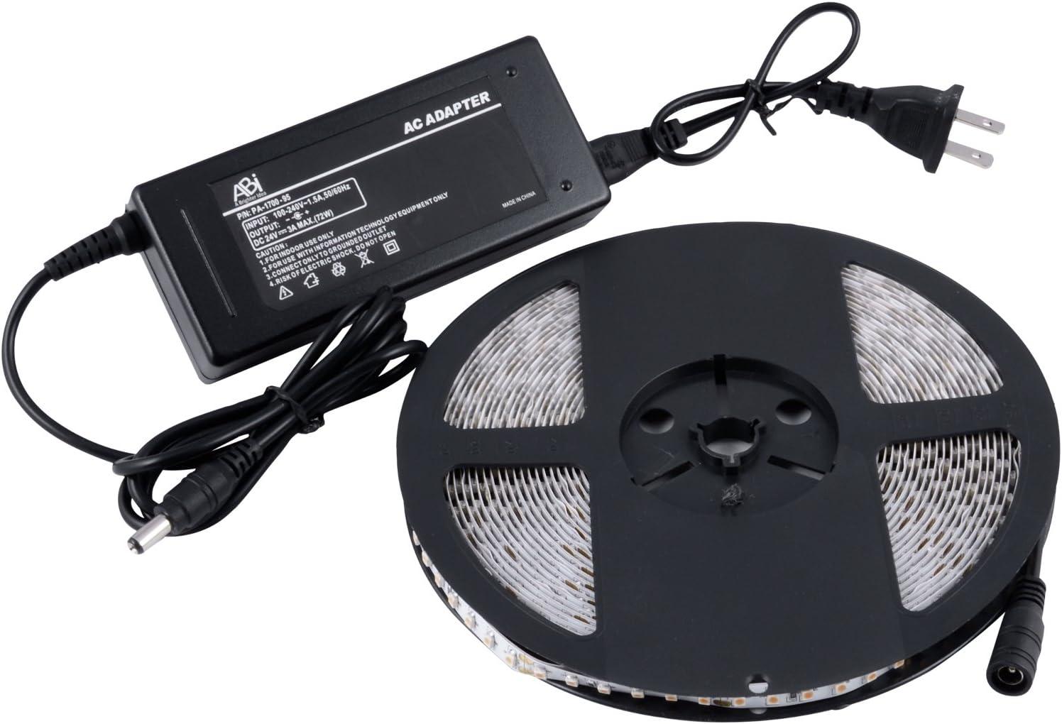 Cool White 6000K ABI 1200 LED Strip Light w// Adapter 10M Double Density 24V