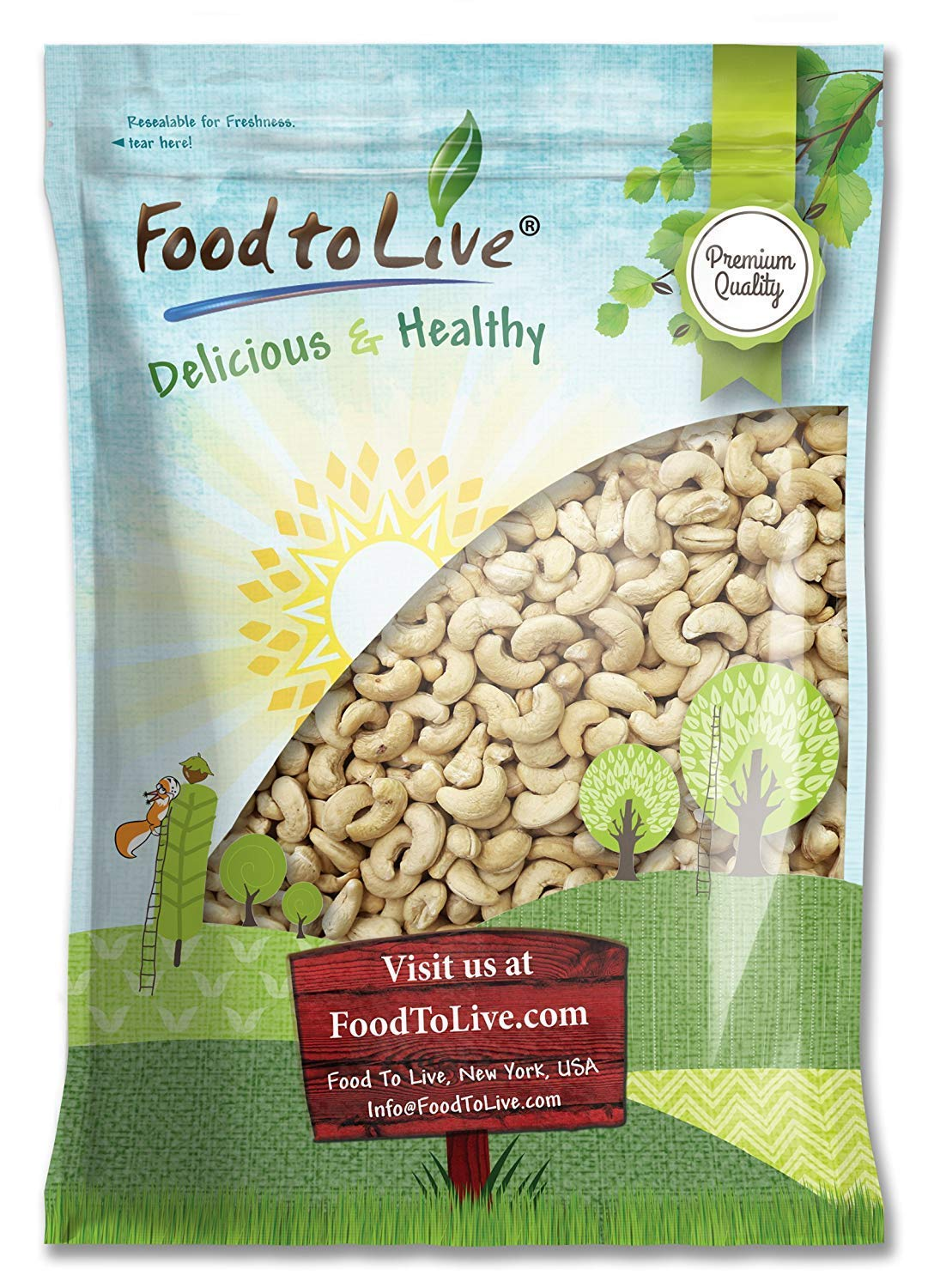 Raw Cashew Nuts by Food to Live, Whole, Unsalted, Bulk — 12 Pounds