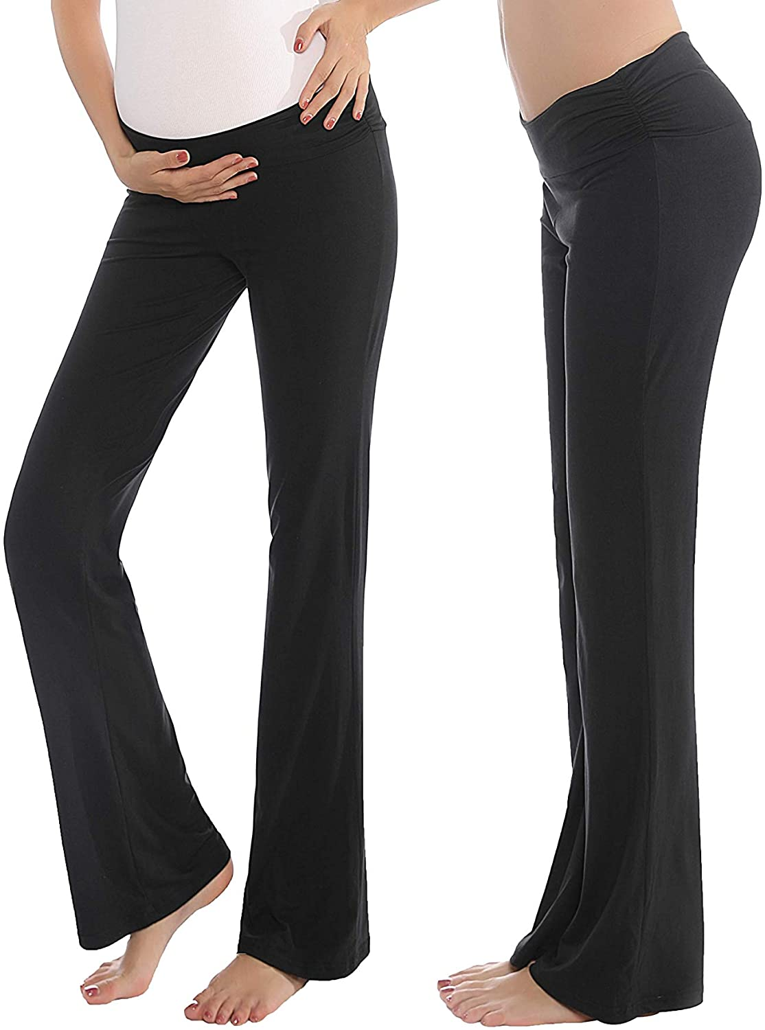 Women Maternity Pants Stretchy Comfy Wide Soft Palazzo Elastic Pregnancy Lounge Trousers
