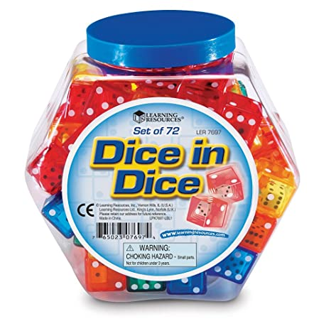Amazon.com: Learning Resources Dice In Dice Bucket, Set of 72 ...