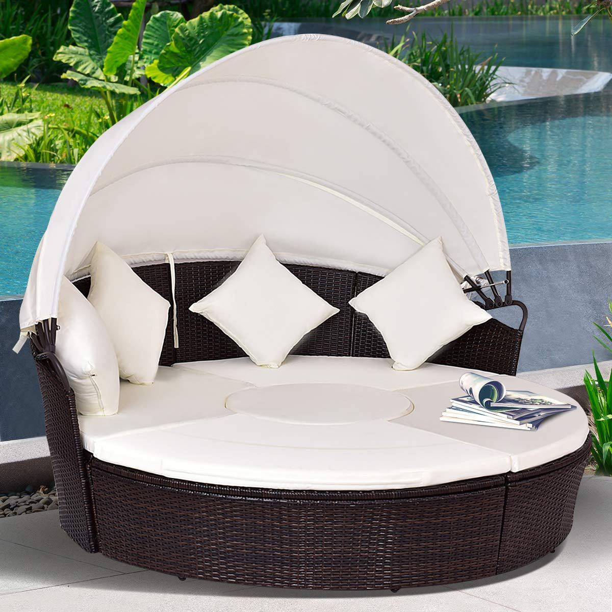 Tangkula Patio Daybed, 73'' Diameter Outdoor Lawn Backyard Poolside Garden Round Sofas with Retractable Canopy, Wicker Rattan Round Daybed, Seating Separates Cushioned Seats (Beige) by Tangkula