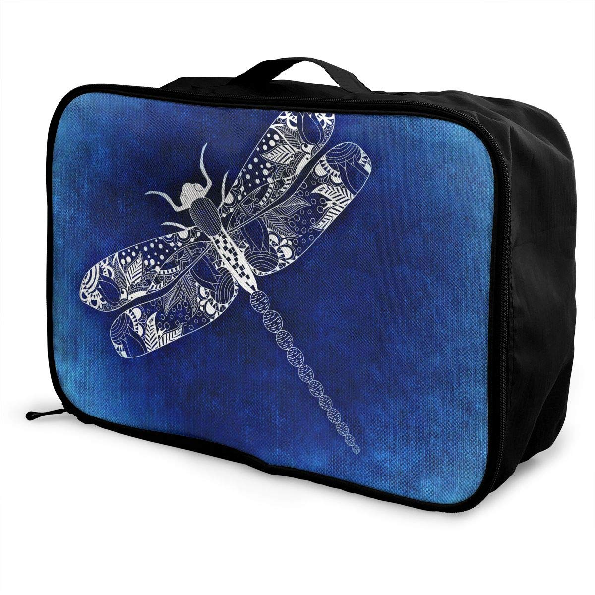 ADGAI Dragonfly in The Blue Sea Canvas Travel Weekender Bag,Fashion Custom Lightweight Large Capacity Portable Luggage Bag,Suitcase Trolley Bag