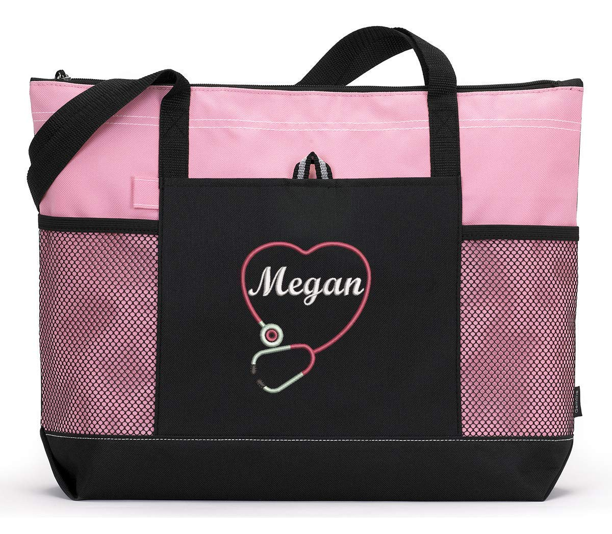 B01FNEH686 Personalized Nurse, CNA, RN, LPN Embroidered Tote Bag with Mesh Pockets 71jCbg02B93L