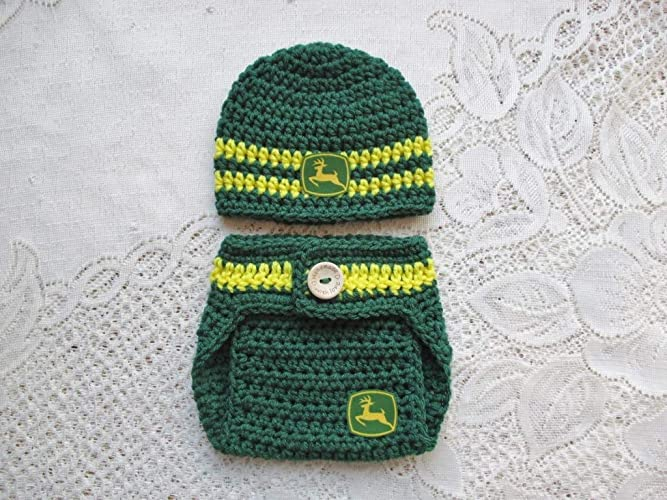 b88db1b9af1 Amazon.com  Crochet Baby John Deere Hat and Diaper Cover Set - Baby Photo  Prop - Baby Shower Gift - Available in 0 to 24 Months  Handmade
