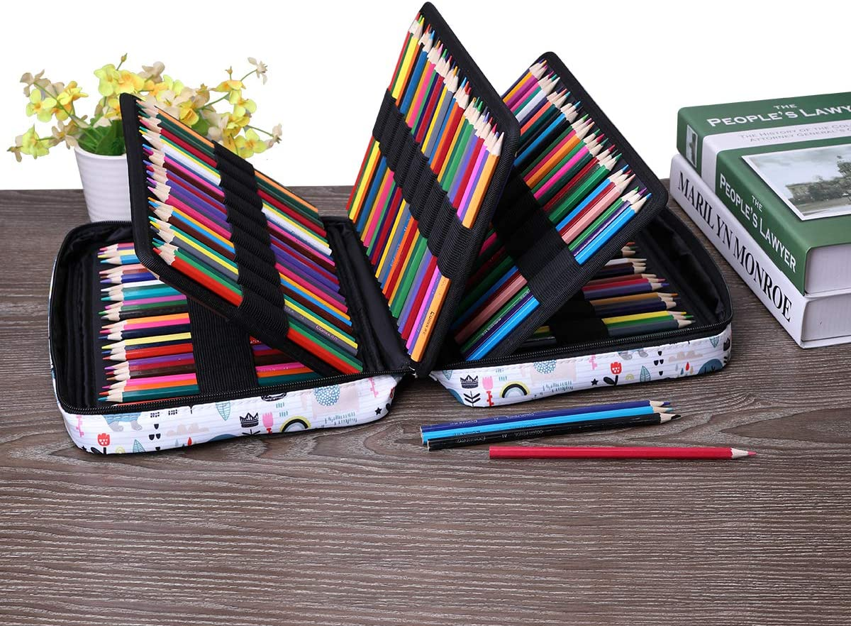Grande capacit/é marqueurs et stylos /à encre gel Cadeau id/éal pour /étudiant artiste L Paresseux Peut contenir 220 couleurs Sac /étanche pour crayons /Étui /à crayons de couleur de Jakago