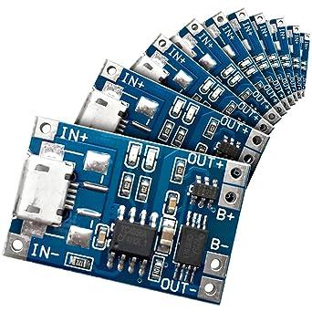 10 Stück LiPo Micro USB Lademodul 5V 1A 18650 TP4056 DE Neu
