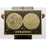 ufengke Retro Phase of The Moon Kraft Poster Living Room Bedroom Removable Murals