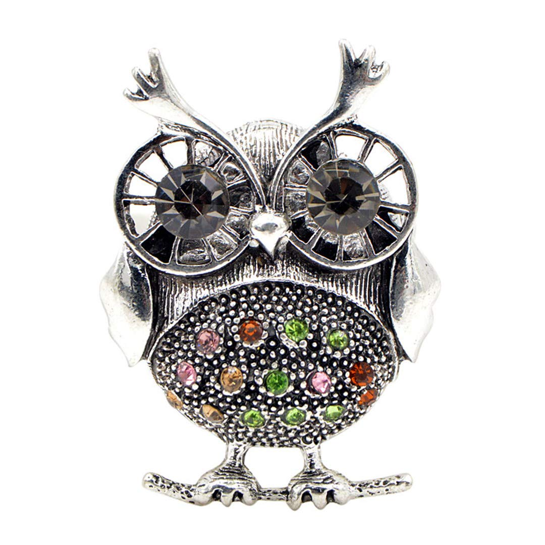 Cregg Rhinestone Owl Brooches for Women Vintage Animal Brooch Pin Kids Gift Small Jewelry