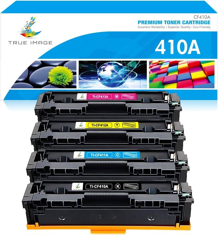 TRUE IMAGE Compatible Toner Cartridge Replacement for HP 410A CF410A CF411A CF412A CF413A Color Laserjet Pro MFP M477fnw M477fdw M477fdn M452dn M452nw M477 Toner (Black Cyan Yellow Magenta, 4-Pack)
