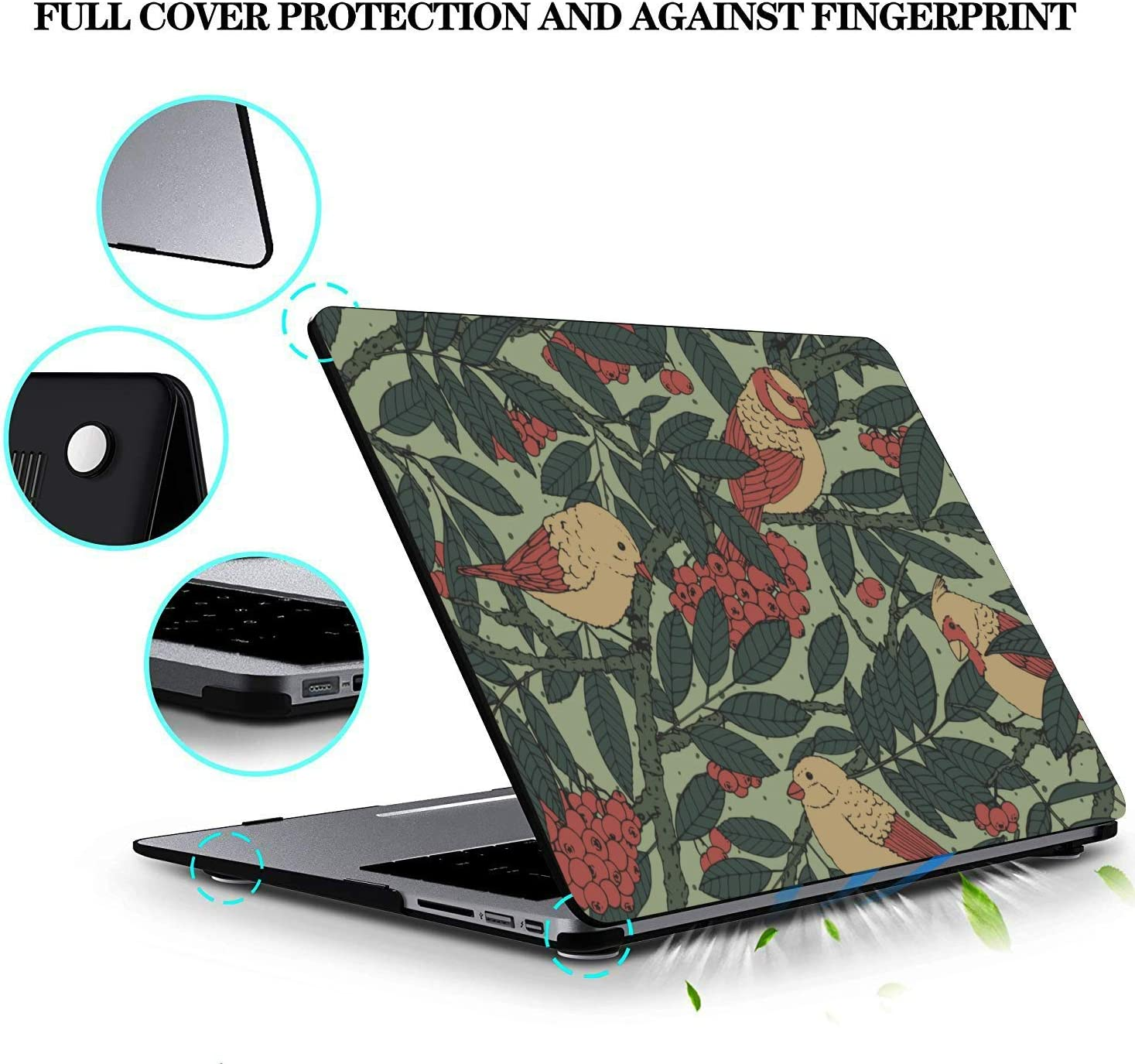 Mac Book Air Covers Yellow Green Leaf Pheasant Flower Plastic Hard Shell Compatible Mac Air 11 Pro 13 15 11 MacBook Air Case Protection for MacBook 2016-2019 Version