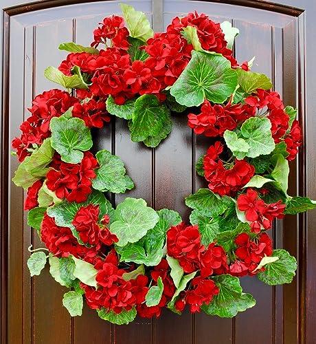 Amazoncom Red Geranium Wreath For Spring Or Summer Front Door