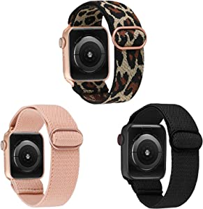 TOYOUTHS 3 Packs Compatible with Apple Watch Band Solo Loop Elastic Stretchy Soft Pattern Printed Fabric Nylon Adjustable with Buckle Rose Gold Women Men IWatch Bands 38mm/40mm Series SE 6 5 4 3 2 1