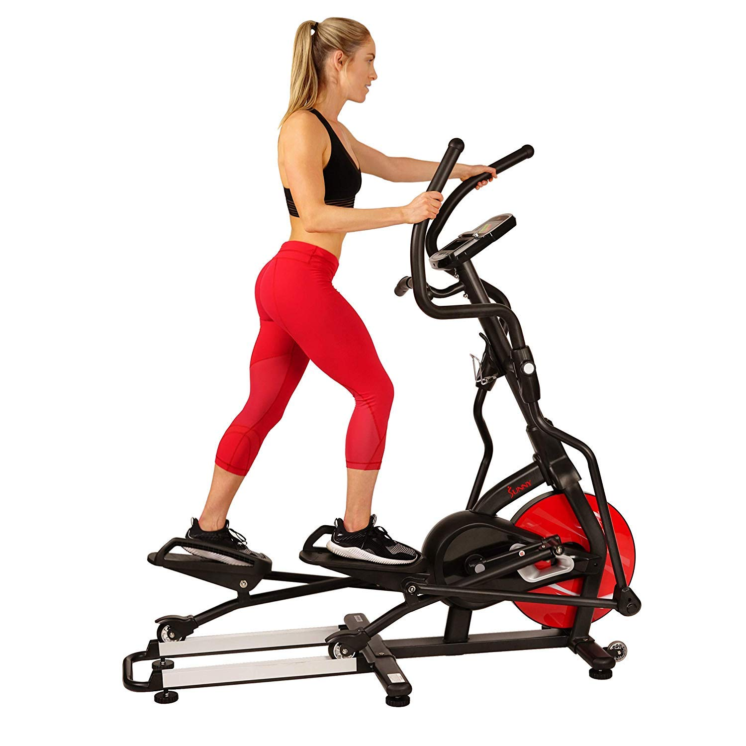 Sunny Health & Fitness Magnetic Elliptical Trainer Machine w/Tablet Holder, LCD Monitor, 265 Max Weight and Pulse Monitor - Stride Zone - SF-E3865 by Sunny Health & Fitness