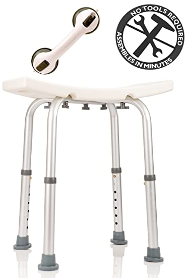 Great Dr. Maya Adjustable Bath And Shower Chair With Free Suction Assist Shower  Handle Large White