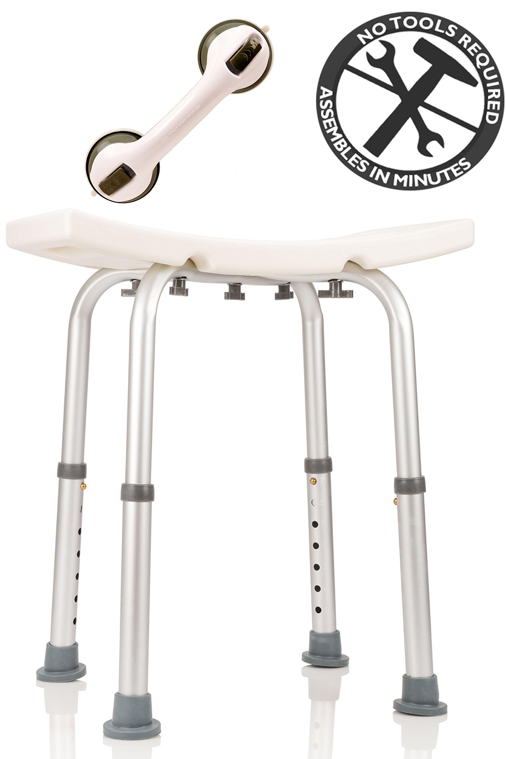 Dr. Maya Adjustable Bath and Shower Chair with Free Suction Assist Shower Handle Large White Anti-Slip Bench Bathtub Stool Seat with Aluminum Legs (Shower Chair) by Dr. Maya