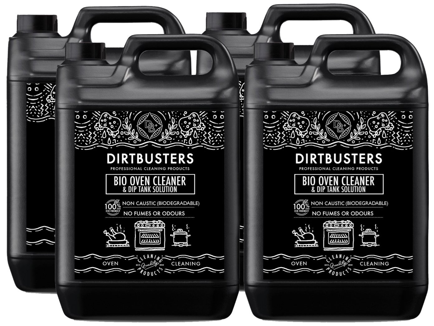 Dirtbusters Bio Oven Cleaner and dip tank solution Concentrate 4 X 5 Litres As Used By Oven Cleaning Companies Professional formula non caustic safe but powerful bio degradable, Eco Friendly