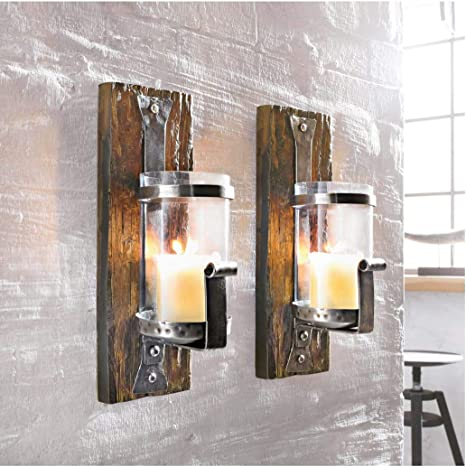 Wall Candle Holder Wood Rustic Pine Wood Iron Brown Amazon Co Uk Kitchen Home
