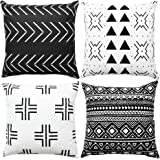 WLNUI Black Boho Modern Pillow Covers 18x18 Inch Set of 4 Square Farmhouse Throw Pillow Covers Geometric Mudcloth Linen…